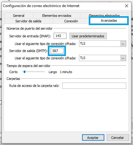 Cuenta de correo IMAP Outlook 2010