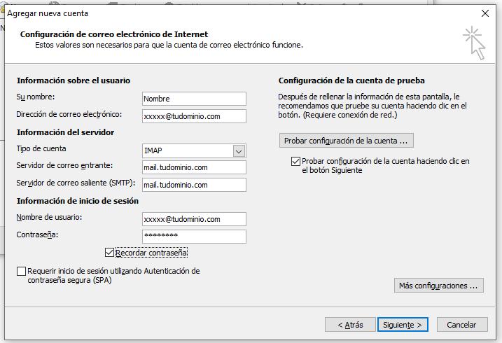 Configuración cuenta de correo Outlook IMAP