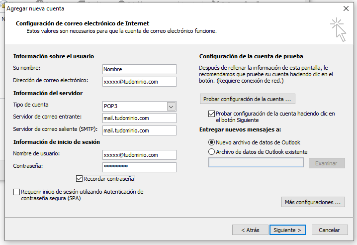 Configuración de cuenta de correo en Outlook 2010 por POP