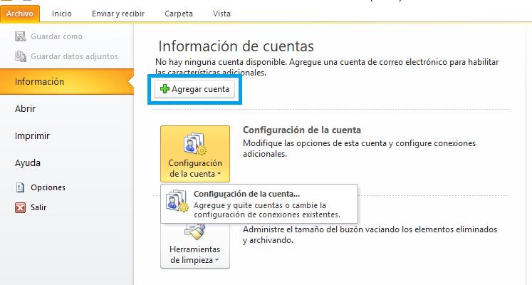 Agregar nueva cuenta en Outlook 2010