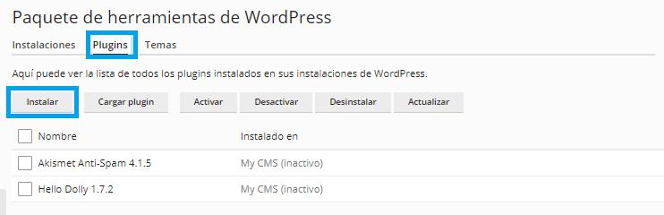 Instalar plugins y temas en WordPress desde Plesk