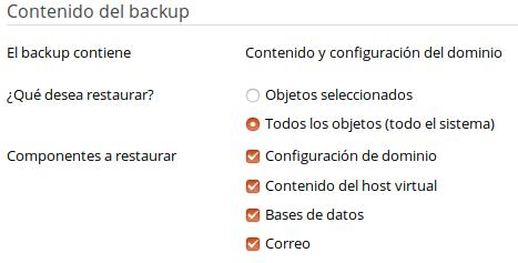 Cómo restaurar todos los objetos de un backup