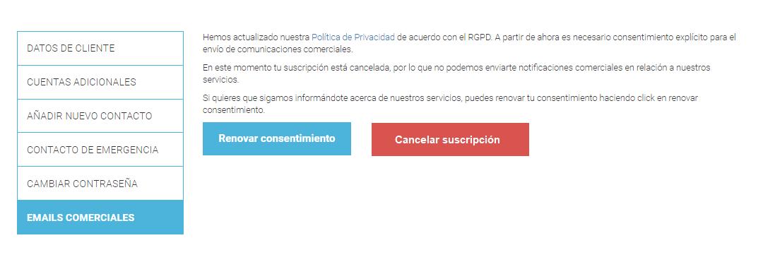 Cambiar preferencias de emails comerciales RGPD