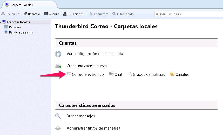 Configuración de cuentas en Thunderbird